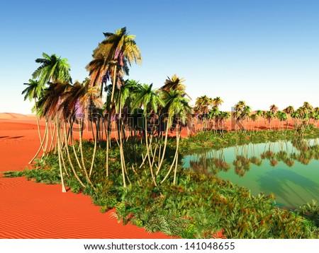 Beautiful natural background - oasis - stock photo