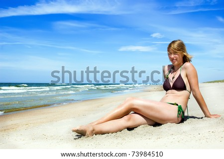 beautiful natural girl on the beach