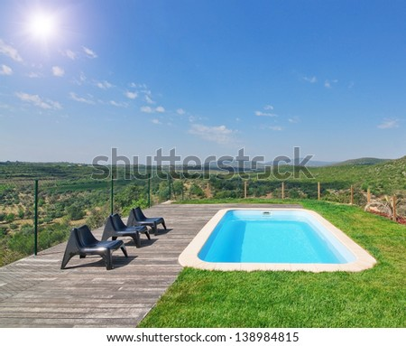 Beautiful natural landscape with a beautiful pool. On a sunny day. - stock photo