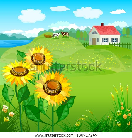 Beautiful natural landscapes with house and sunflowers. Raster copy  - stock photo