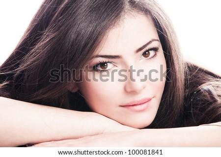 beautiful natural looking  brunette woman portrait - stock photo