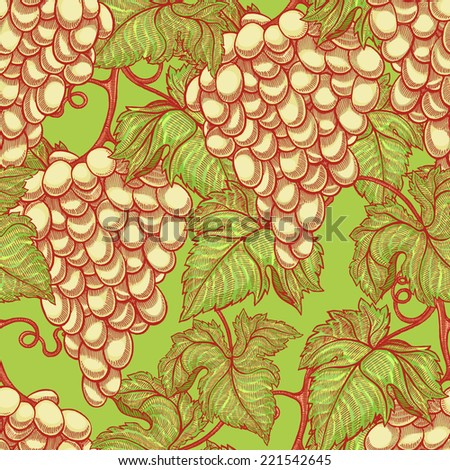 beautiful natural seamless vintage background with bunches of ripe white grapes  - stock photo