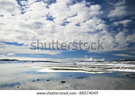 Beautiful natural snowy winter environment - Atlas mountains, Morocco - stock photo