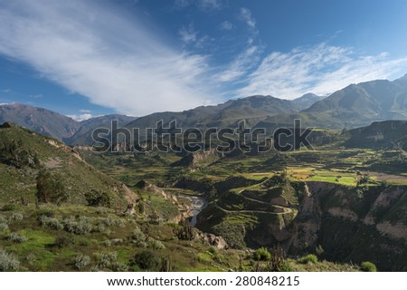 Beautiful Natural view from The Colca Canyon, the deepest canyon, Arequipa, Peru
