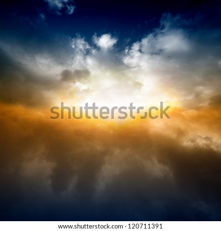 Beautiful nature background - bright light from sky