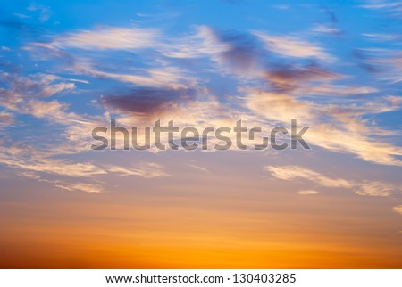 Beautiful nature background - red sunset, bright sun - stock photo