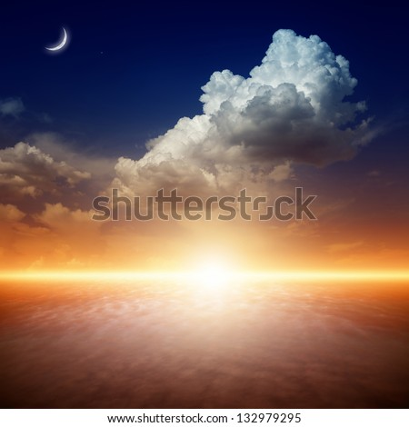 Beautiful nature background - red sunset, bright sun, moon and star in dark blue sky - stock photo
