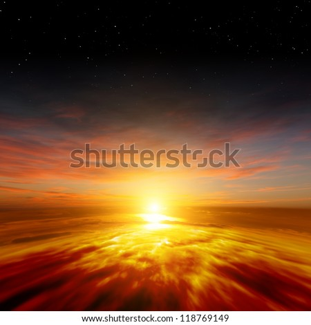 Beautiful nature background - red sunset, bright sun, stars in space - stock photo