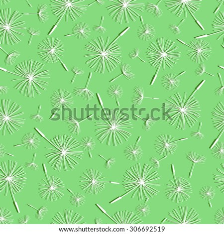 Beautiful nature background seamless pattern light green with white flower dandelion fluff. Floral seamless pattern with summer or spring flower. Stylish romantic trendy wallpaper. Raster illustration - stock photo