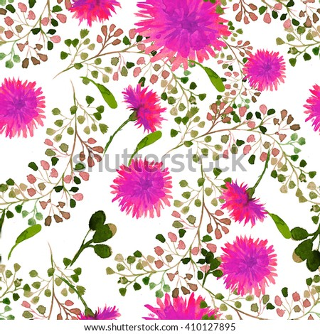 Beautiful nature background seamless pattern white with black flower dandelion fluff. Floral seamless pattern with summer or spring flowers. Stylish trendy wallpaper.  - stock photo