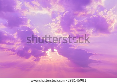 Beautiful nature background. Sunset sky and clouds at twilight time - stock photo