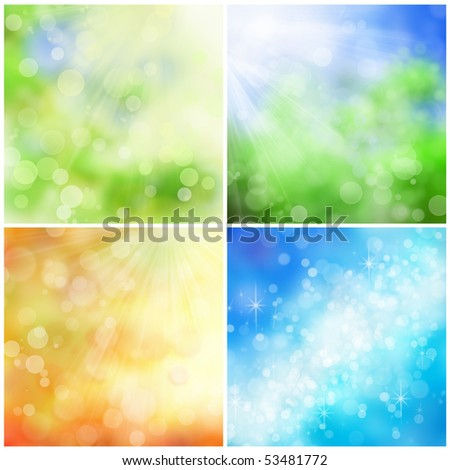 Beautiful nature bokeh backgrounds for four seasons: spring, summer, fall, and winter. - stock photo