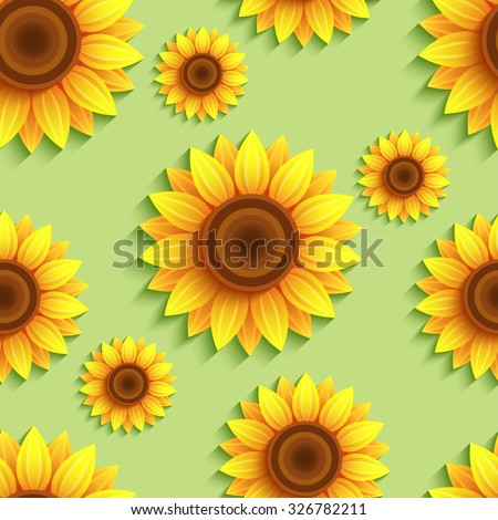 Beautiful nature green background seamless pattern with 3d sunflowers. Floral trendy backdrop with orange, yellow summer flowers. Bright stylish modern wallpaper. Greeting  card. Raster illustration - stock photo