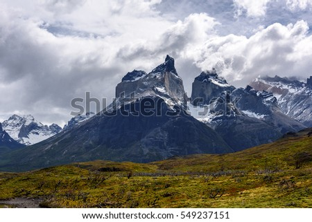 Beautiful nature in the Torres del Paine National Park, Patagonia, Chile