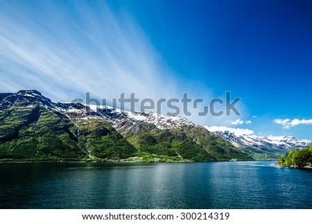 Beautiful Nature Norway natural landscape. - stock photo