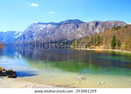 Beautiful nature on Lake Bohinj in Slovenia