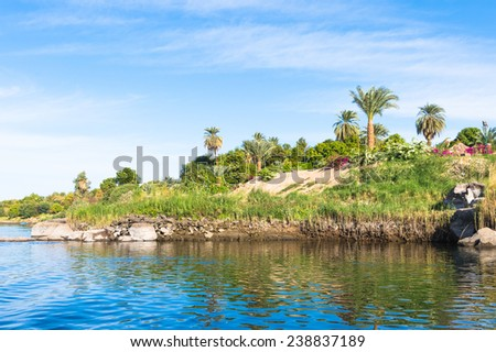 Beautiful nature (palm trees, grass, hills, sand) of the coastline of the Nile river part called First Cataract, Aswan, Egypt