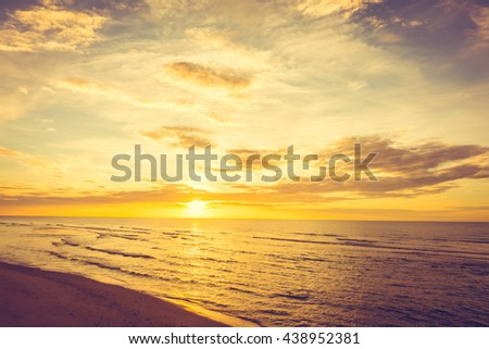 Beautiful nature with sunset on the beach and sea or ocean - Boost up color and Filter Processing