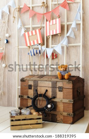 beautiful nautical decor for a children's room - stock photo