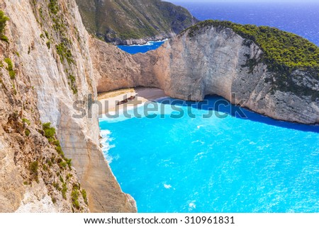 Beautiful Navagio Beach (Shipwreck beach) on Zakynthos Island, Greece - stock photo