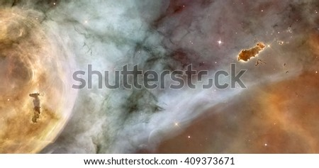 Beautiful nebula in cosmos far away. Retouched image. Elements of this image furnished by NASA. - stock photo