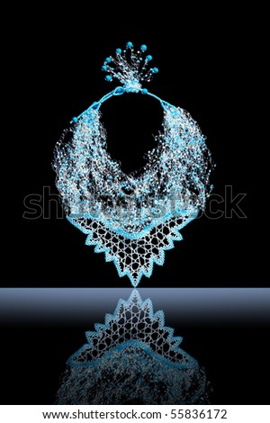 Beautiful necklace from blue beads - stock photo