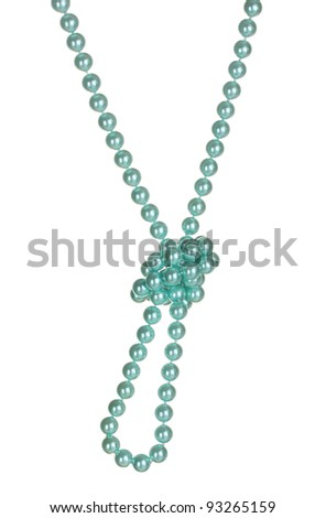 beautiful necklace of blue pearls  isolated on white