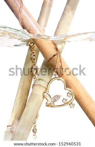 beautiful necklace on bamboo sticks under water - stock photo