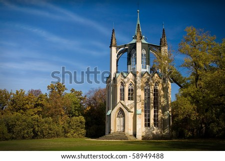 Beautiful neo-gothic outlook-tower in  chateau garden - Krasny dvur - Czech Republic - stock photo