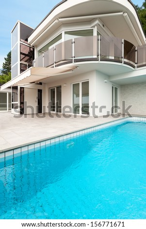 beautiful new apartment building with pool, view outdoor
