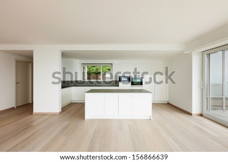 beautiful new apartment, interior, modern kitchen - stock photo