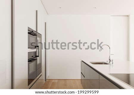 beautiful new apartment, modern kitchen, detail - stock photo