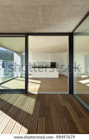 beautiful new  apartment, view of the kitchen from the veranda - stock photo