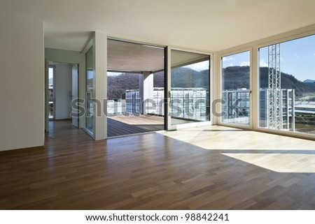 beautiful new apartment, view of the veranda from the room - stock photo