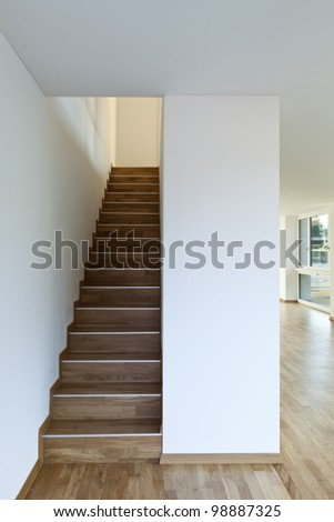 beautiful new building interior, staircase - stock photo
