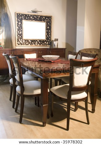 Beautiful new Estate home formal dining room interior architecture design - stock photo