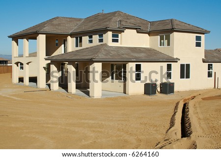 Beautiful new home construction. - stock photo