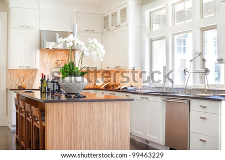Beautiful New Kitchen in Luxury Home - stock photo