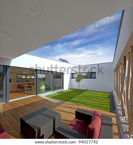 Beautiful new peaceful, modern home - stock photo