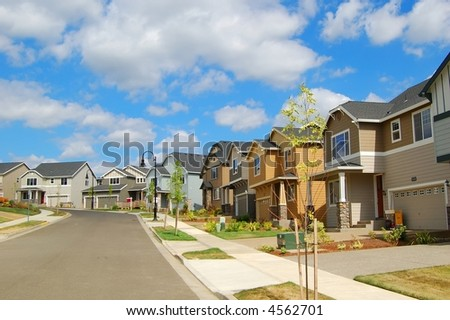 Beautiful New Suburban Houses and Neighborhood - stock photo