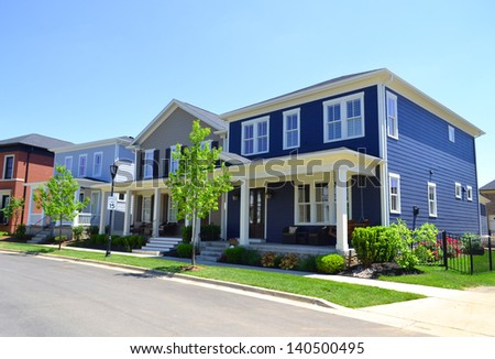 Beautiful, New Suburban Neighborhood in the Summertime - stock photo