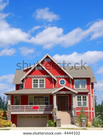 Beautiful New Victorian-Style Suburban Home - stock photo