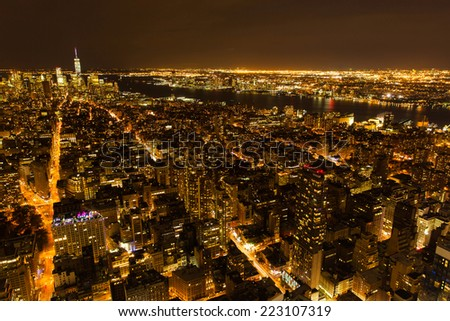 beautiful new york city night view, USA