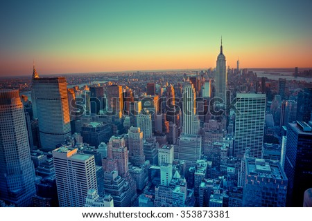 Beautiful New York City seen from above at sunset - stock photo
