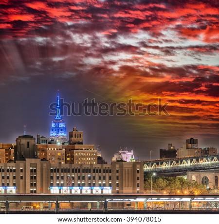 Beautiful New York skyline at dusk, NY - USA. - stock photo