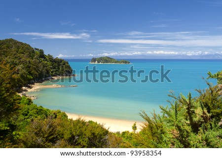 Beautiful New Zealand Landscape. Abel Tasman National Park, South Island. - stock photo