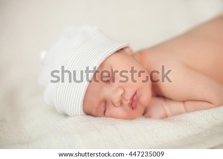 beautiful newborn sleeping baby. close-up portrait - stock photo