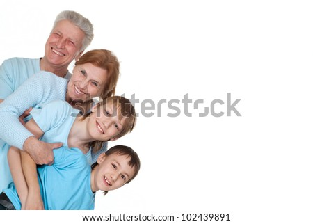 Beautiful nice large family on a isolate background - stock photo