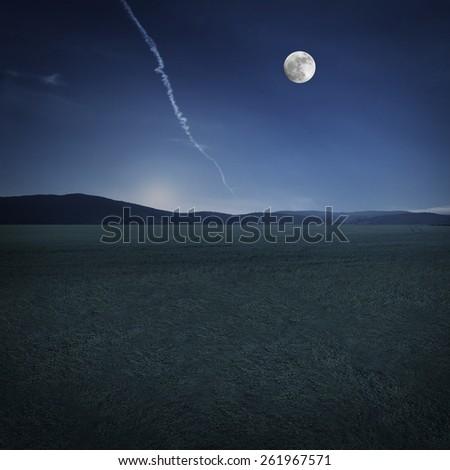 beautiful night landscape - stock photo