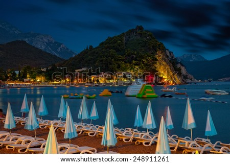 Beautiful night landscape of seaside town of Petrovac, Montenegro. - stock photo